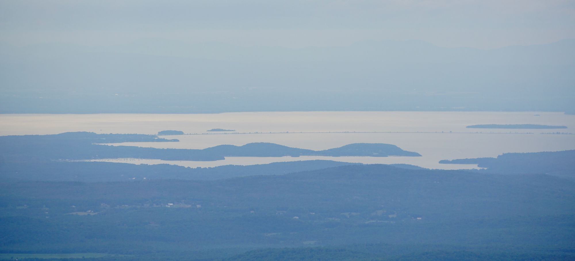 Lake Champlain in the distance from the summit of Mount Mansfield.
