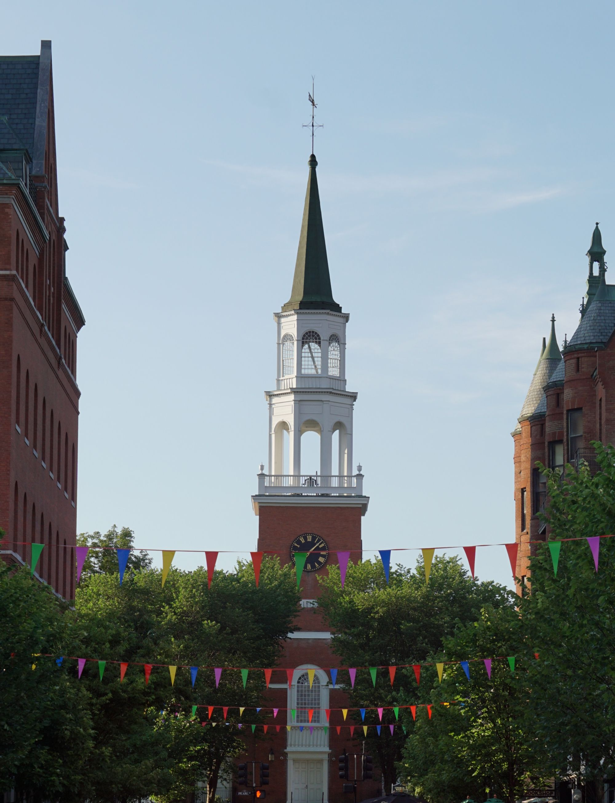 One of Burlington's iconic sights, the Masonic Building in the city's downtown district.